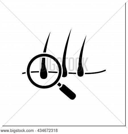 Hair Glyph Icon. Hairbreadth Examination. Finding Problems. Brittle Hair. Baldness Concept.filled Fl