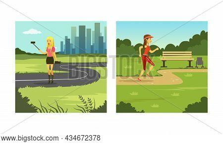 Woman Enjoying Outdoor Walk Jogging Listening To Music And Taking Selfie Vector Set