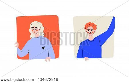 Young Redhead Man And Blond Woman Looking Out Of Square Window Vector Set