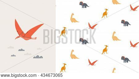 Seamless Pattern And Card With Cute Dinosaurs. Prehistoric Era. Childrens Illustration.