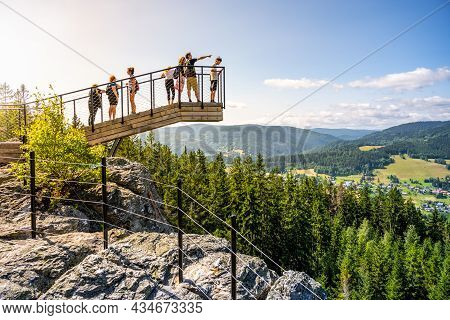 Rokytnice Nad Jizerou, Czech Republic - July 18, 2021: New And Modern Lookout Forest Park The Guard