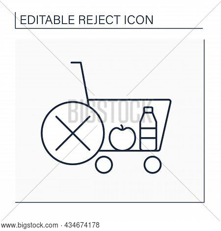 Rejected Cart Line Icon. Online, Offline Shopping. Canceled Shopping.rejecting Entire Carts. Reject