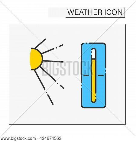Thermometer Color Icon. Hot Weather Outside. Nice Sunny Day. High Temperature. Swelter . Heat. Summe