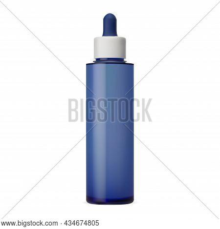 Serum Cosmetic Liquid, Dropper Bottle Vector Template. Luxury Face Collagen Moisture Bottle With Eye