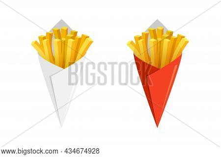 French Fries Potato Tasty Fast Street Food In White And Red Paper Cone. Fried Potato Sticks Bunch Pa
