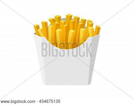 French Fries Potato Tasty Fast Street Food In White Paper Cardboard Box. Fried Potato Sticks Bunch P
