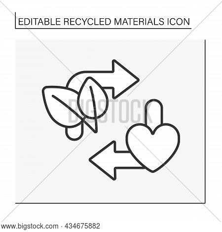 Ecology Line Icon. Waste Recycling Charity. Recycling. Recycled Materials Concept. Isolated Vector I