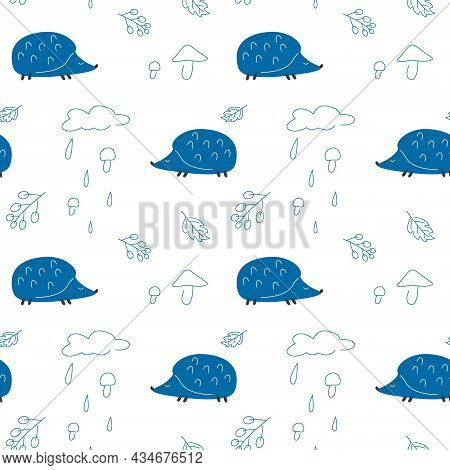 Seamless Pattern Of Blue Hedgehogs And Mushroom Rain On A White Background. Vector Illustration Is G