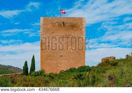 a view of the Torre del Espolon tower in the Castle of Lorca, in Lorca, in the Region of Murcia, Spain
