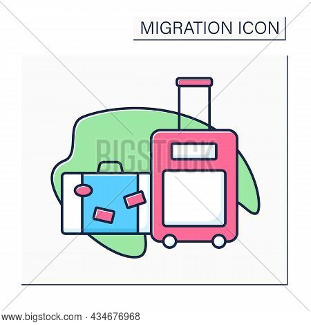 Baggage Color Icon. Cargo. Things, Other Material Values. Packed For Departure By Transport. Importa