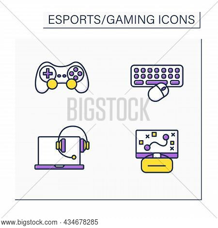 Esports Color Icons Set. Joystick, Keyboard, Laptop And Headset, Game Strategy. Gaming Concept. Isol