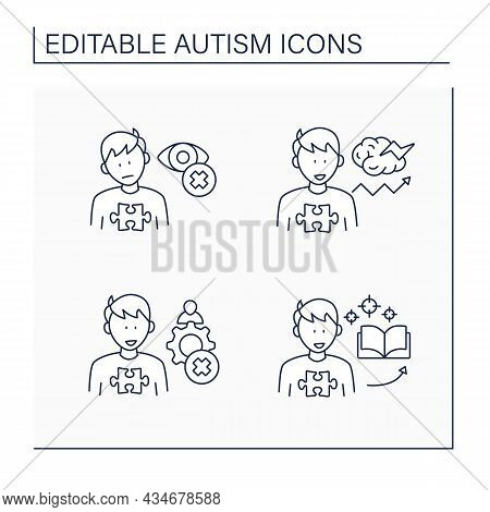 Autism Spectrum Disorder Line Icons Set.inappropriate Social Interaction, Eye Contact Avoidance, Foc