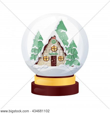 Vector Isolated Illustration Of Christmas Souvenir, Glass Ball With Winter House Inside, Snowdrifts,