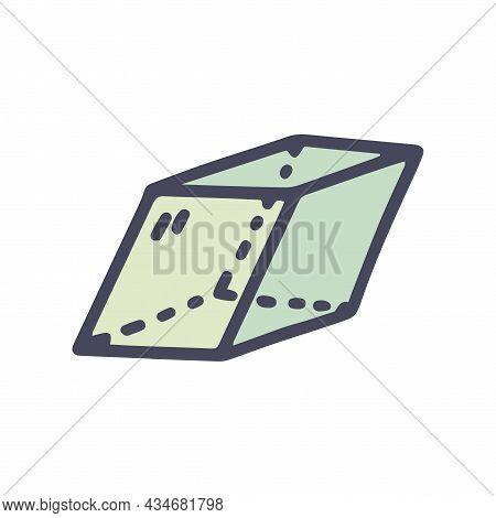 Rhombohedron Color Vector Doodle Simple Icon Design