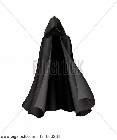 Waving Vampire Or Witch Cloak With Hood Realistic Vector Illustration