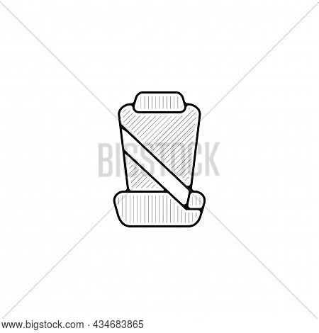 Car Seat With Seat Belts Vector Thin Line Icon. Car Seat With Seat Belts Hand Drawn Thin Line Icon.