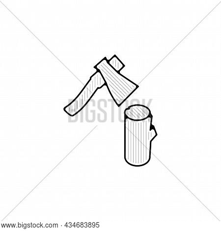 Ax With Log Vector Thin Line Icon. Ax With Log Hand Drawn Thin Line Icon.