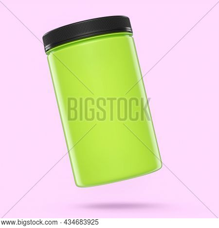 Green Plastic Jar For Sport Nutrition Whey Protein And Gainer Powder Isolated On Pink Background. 3d