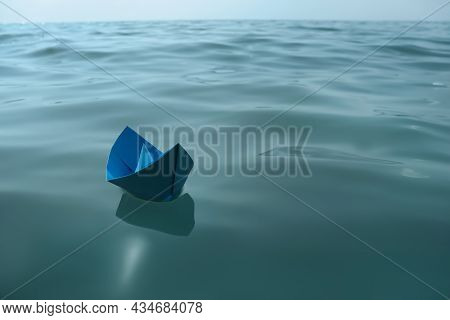 Light Blue Paper Boat Floating On Water Surface, Space For Text