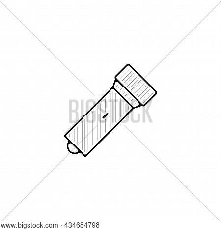 Flashlight Vector Thin Line Icon. Flashlight Hand Drawn Thin Line Icon.