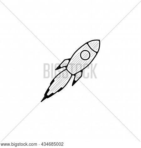 Rocket Vector Thin Line Icon. Rocket Hand Drawn Thin Line Icon.
