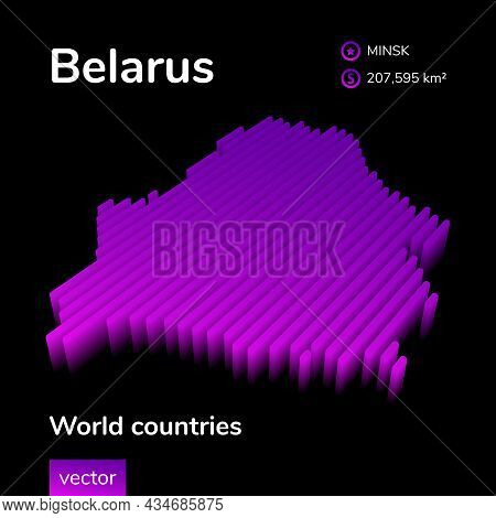 Stylized Neon Digital Isometric Striped Vector Belarus Map With 3d Effect. Map Of Belarus Is In Viol