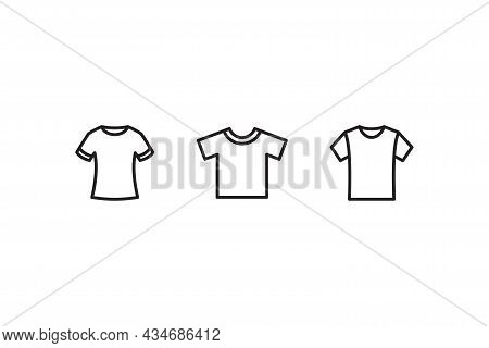 Set Of Simple Flat T Shirt Icon Illustration Design, Various T Shirt Symbol Collection With Outlined