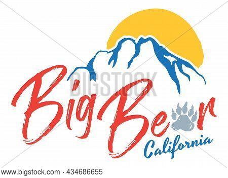 Big Bear Lake T-shirt Design | Graphic Tee Layout For Southern California Ski Town | Vector Mountain