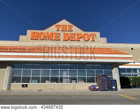 Calgary, Alberta, Canada. Sep 21, 2021. Wide View To The Home Depot Entrance During Sunny Day.