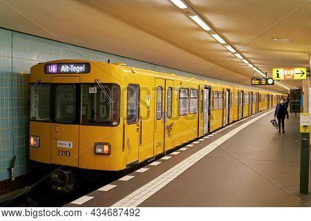Berlin, Germany - September 17, 2021: A Subway Of The Bvg (berliner Verkehrsbetriebe) To Alt-tegel O