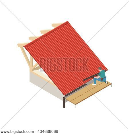 Roofer Installing Roof Eave 3d Icon On White Background Isometric Vector Illustration