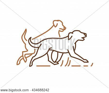 Running Dog Line Icon, Pets Symbol, Labrador Golden Retrievers Playing Together.