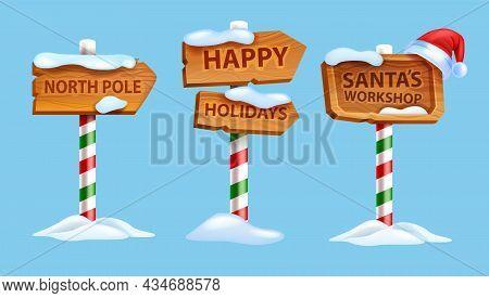 Christmas Wooden Sign Board Set, Vector Winter North Pole Postal Road Pointer, Santa Claus Workshop.
