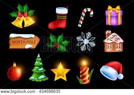 Christmas Holiday Icon Set, Vector Game X-mas Badge Kit, New Year Winter Symbol, Gold Star, Gingerbr