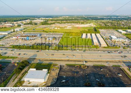 20 September 2021 Houston, Tx Usa: Aerial Overlooking With Traffic Line 45 Interstate Expressway Aro