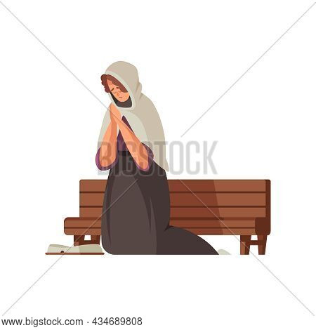 Cartoon Poor Medieval Woman On Her Knees Near Wooden Bench Vector Illustration