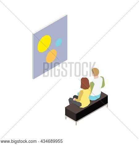 Isometric Icon With Characters Of Art Gallery Visitors On White Background Isolated Vector Illustrat