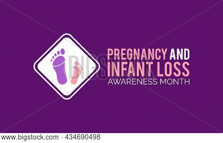 Pregnancy And Infant Loss Awareness Month Occurs Every October Banner Template Design With White Bac