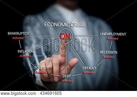 Global Financial Crisis Concept, Congressman's Hand Presses The Button Crisis, The Beginning Of Prob