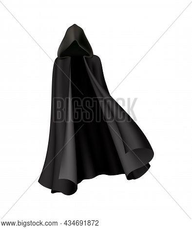 Realistic Elegant Vampire Cloak In Black Color With Hood Vector Illustration