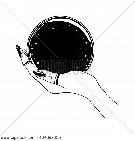 Female Hand Holding Magic Crystal Ball Isolated On White. Creepy Cute Vector Illustration. Gothic De
