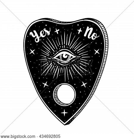 Heart-shaped Planchette For Spirit Talking Board. Vector Isolated Illustration In Victorian Style. M