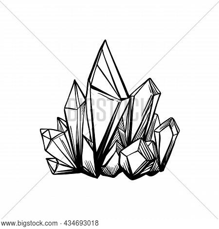 Hand Drawn Crystal Gem Isolated On White. Geometric Gemstone Symbol In Black And White. Vector Illus