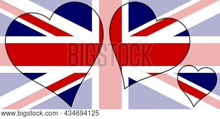 British Union Jack Flag Within A Selection Of Heart Cutoits All Over A Faded Background