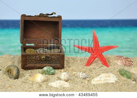 - Red Starfish On Beatch With Treasure