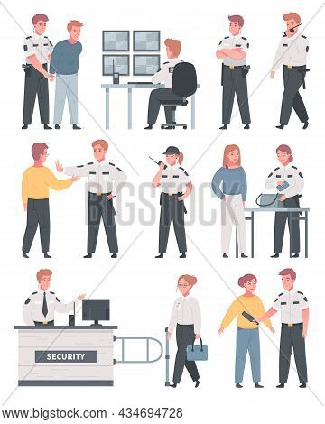 Security Guard Agency Service Cartoon Set Of Isolated Human Characters With Luggage Inspection And C