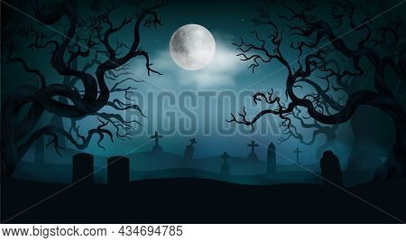 Halloween Background With Old Cemetery Gravestones Spooky Leafless Trees Full Moon On Night Sky Real