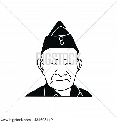 Silhouette Veteran Soldier Design Vector Isolated On White