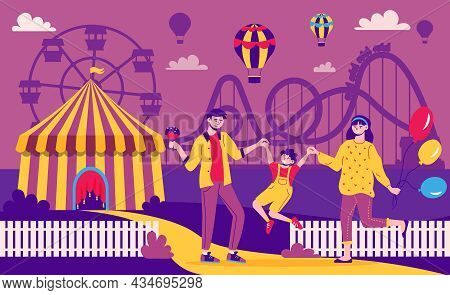 Amusement Park Color Composition With Outdoor Landscape And Silhouettes Of Amusement Rides With Pare