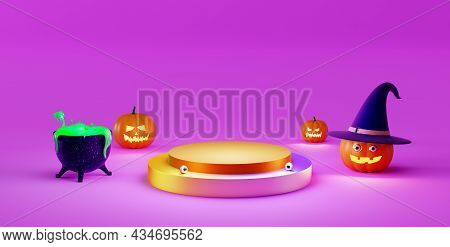 Halloween Background With Catwalk On Pink Background. Halloween Jack O Lantern Display, 3d Rendering